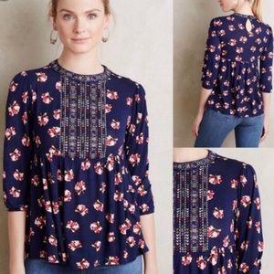 Anthropologie embroidered navy floral blouse med